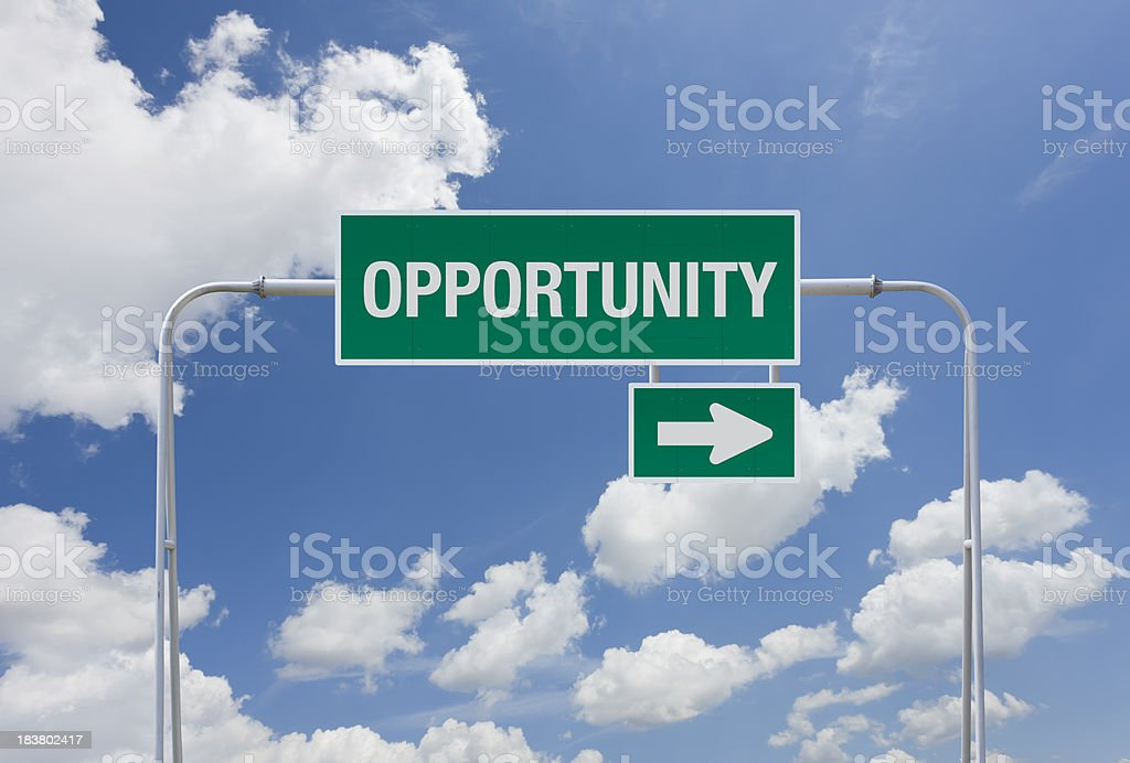 Green highway sign with exit for opportunity royalty-free stock photo