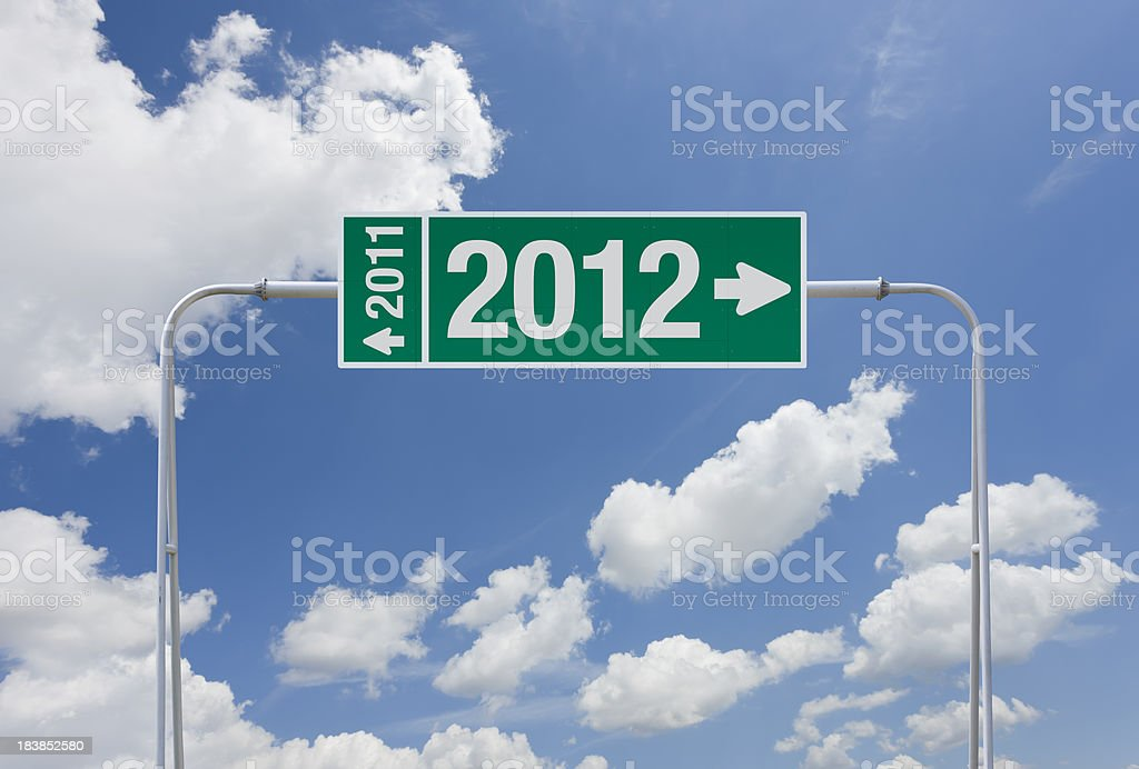 Green highway sign with exit for year 2012 royalty-free stock photo