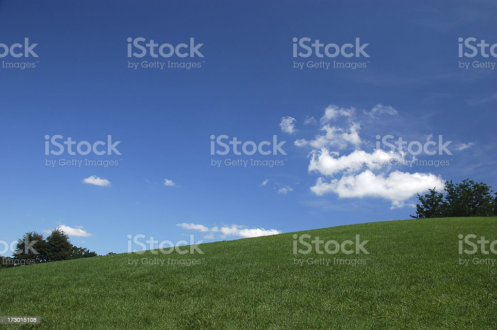 Green Hill Blue Sky royalty-free stock photo
