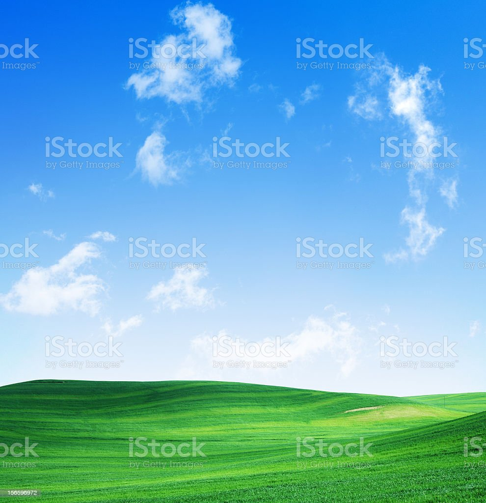 Green hill with cloudy sky in the background royalty-free stock photo