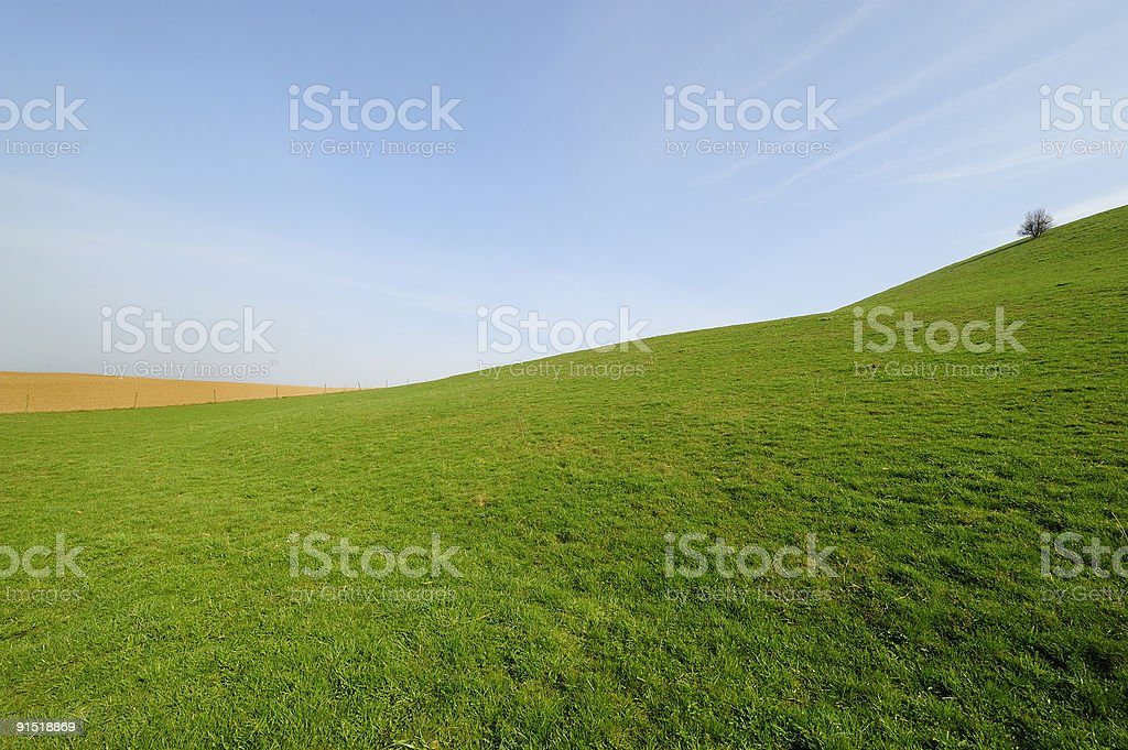 Green Hill with three stock photo