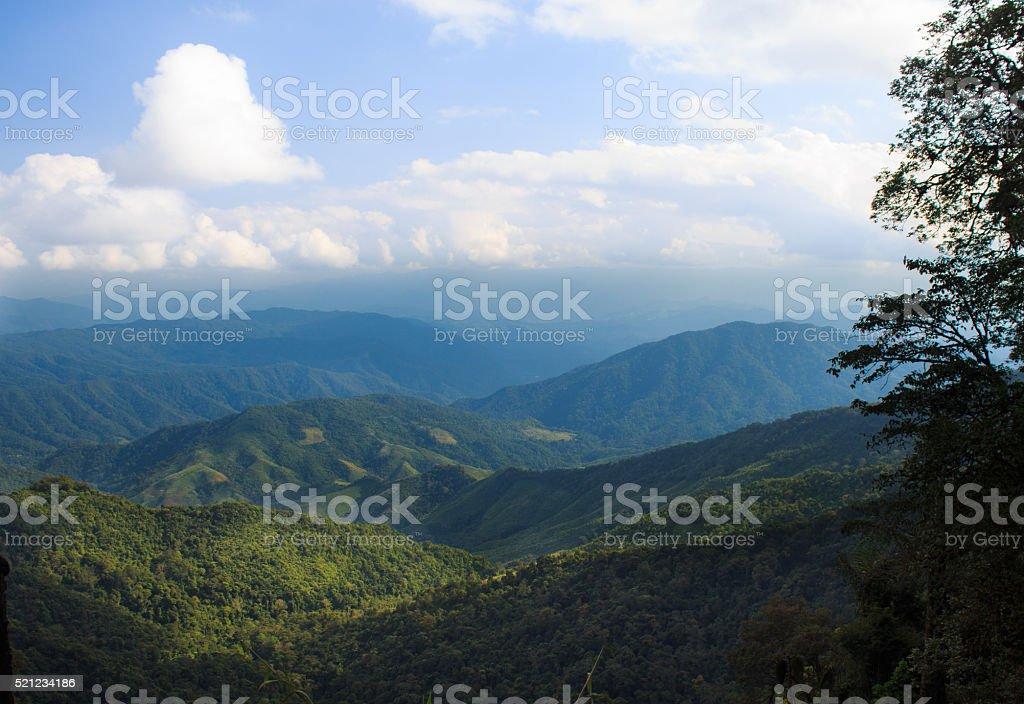 Зеленый пейзаж гор холмов и видом на Стоковые фото Стоковая фотография