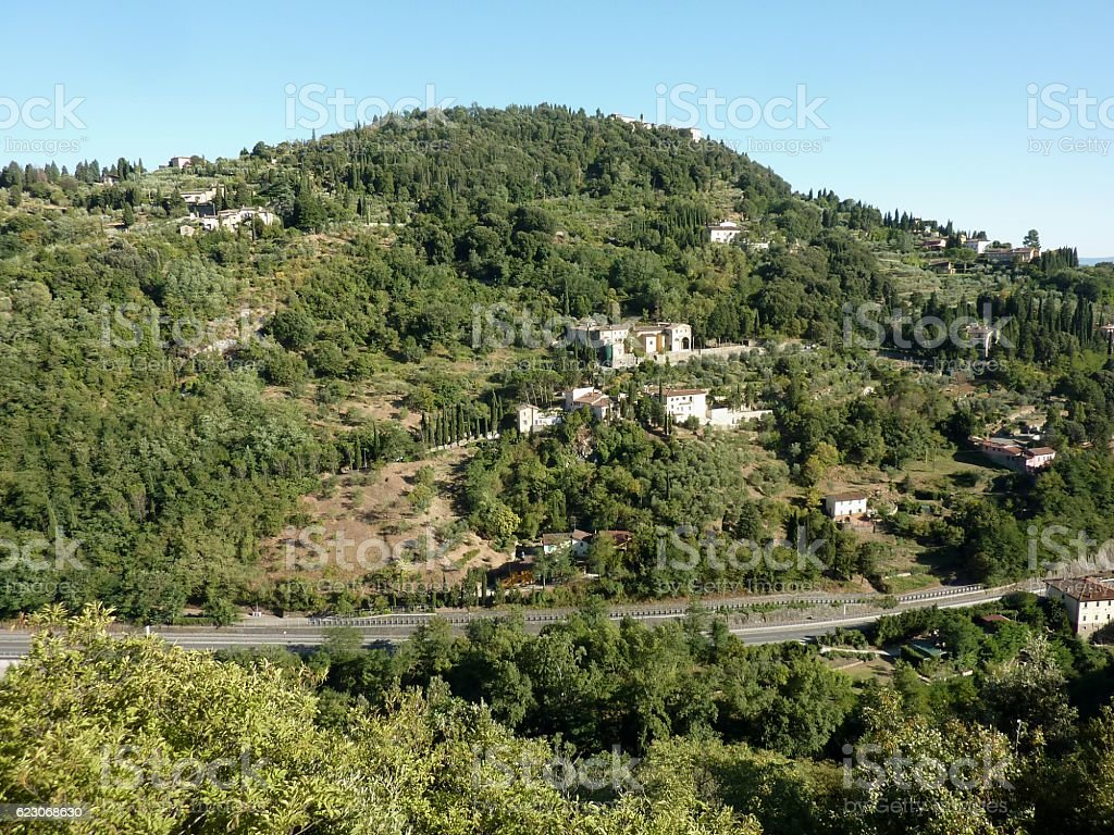 Green hills at Caldine, Florence, Italy stock photo
