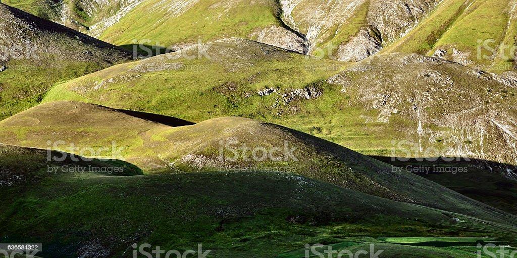 Green hills near Castelluccio of Norcia, Italy stock photo
