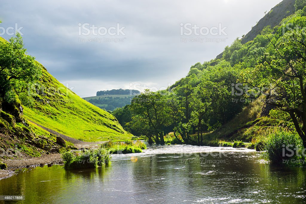 Green Hills near River Dove in Peak District National Park stock photo