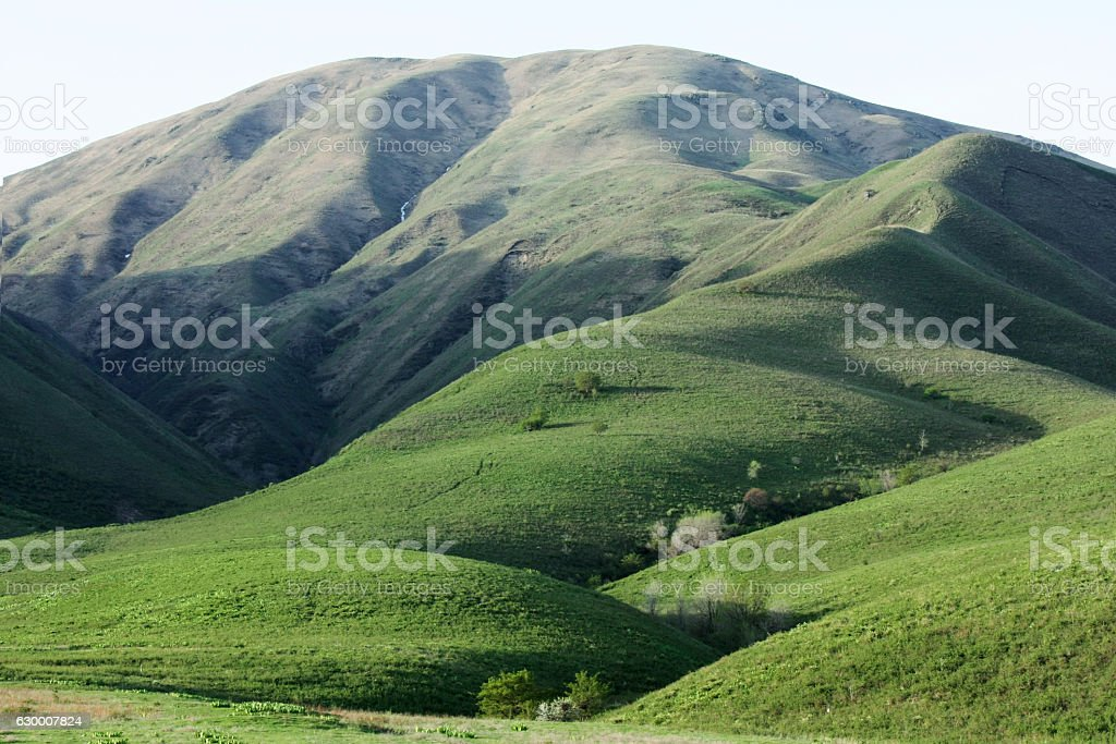 green hills of Trans-Ili Alatau stock photo