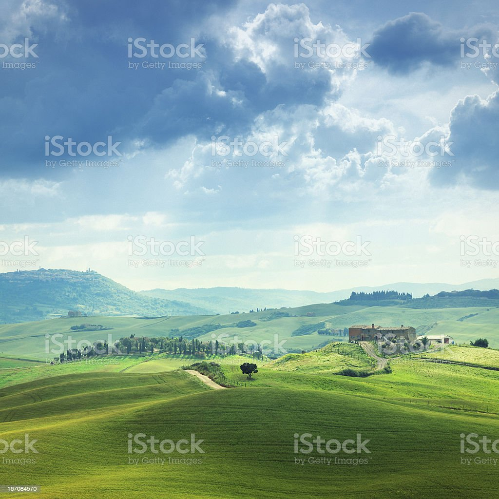 Green hills of Tuscany stock photo