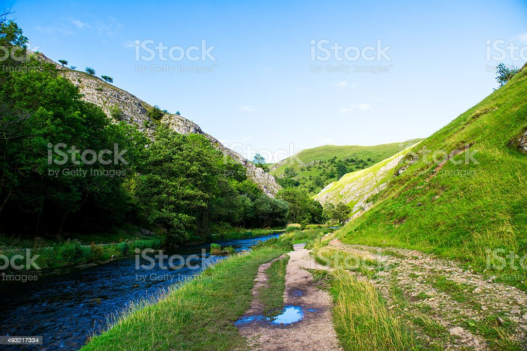 Green Hills, River Dove in Peak District National Park stock photo