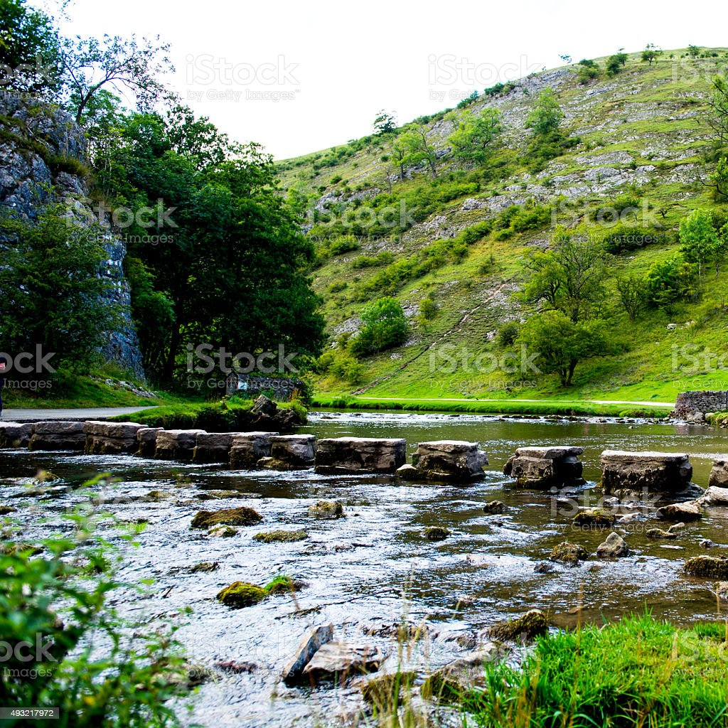 Green Hills, Stepping Stones near River Dove stock photo