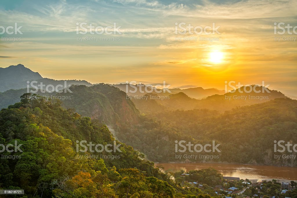 Green Hills Sunset stock photo