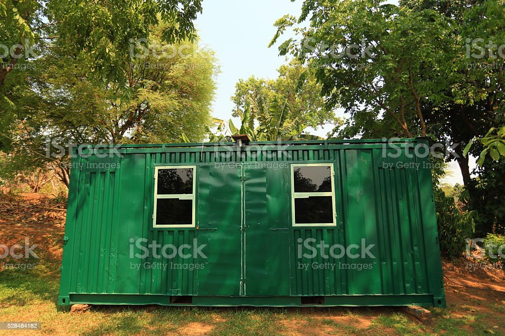 green home container stock photo