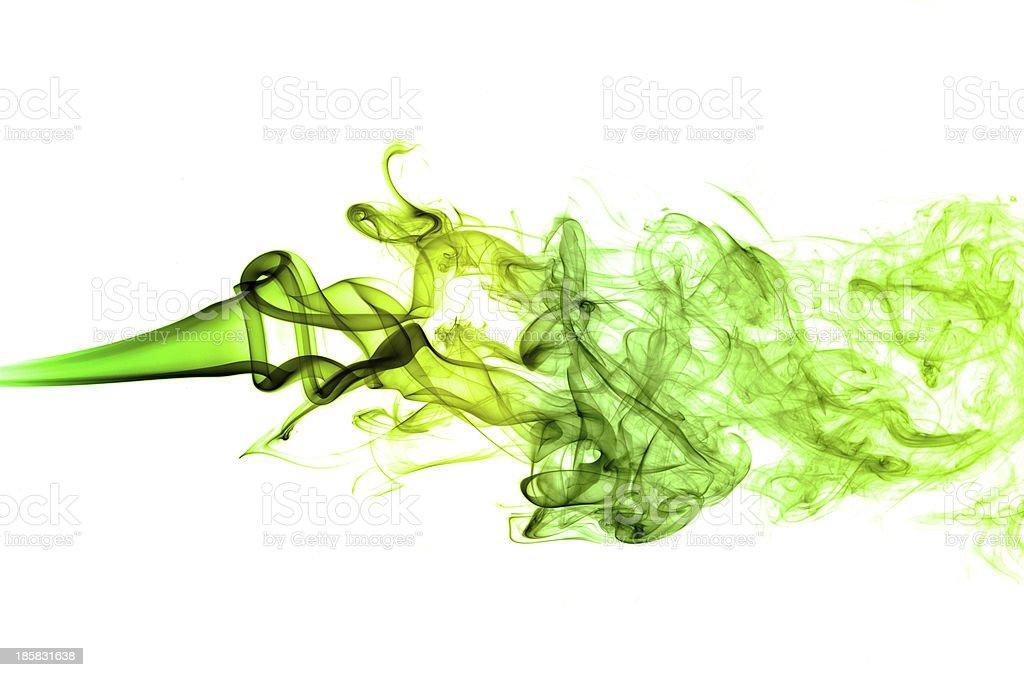 Green horizontal smoke in white background royalty-free stock photo
