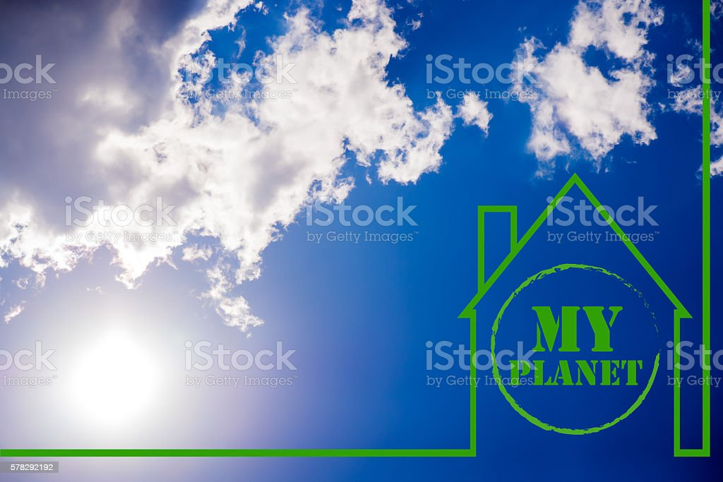 Green House, concept house on glade clear solar daytime stock photo