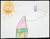 Green House under the Sun. Child's Drawing.