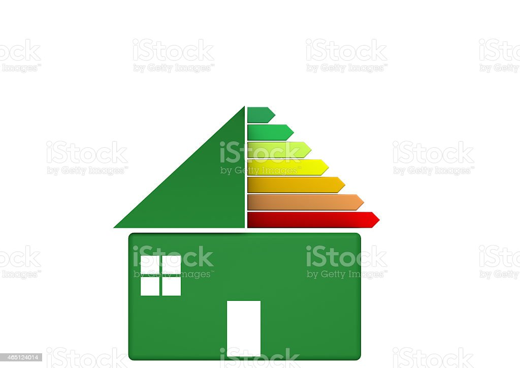 green house with EU energy labels stock photo
