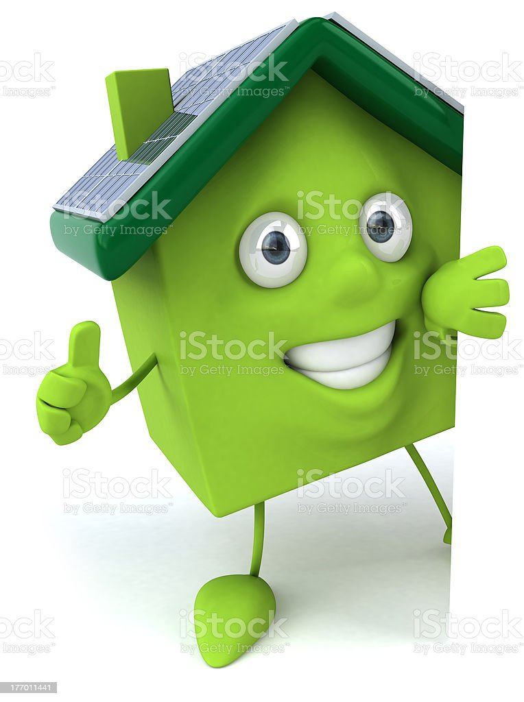 Green house with solar panels royalty-free stock photo