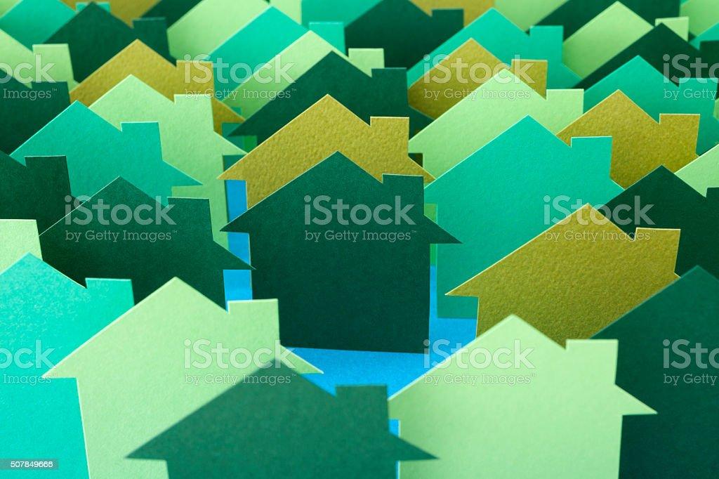 Green houses stock photo