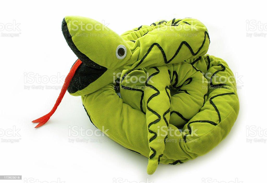 Green huge teddy snake stock photo