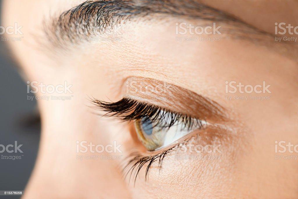 Green Human Eye Close Up stock photo