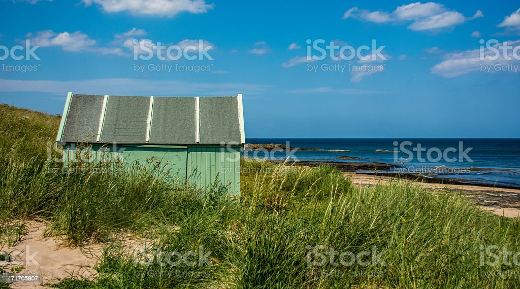 Green Hut by the Sea royalty-free stock photo
