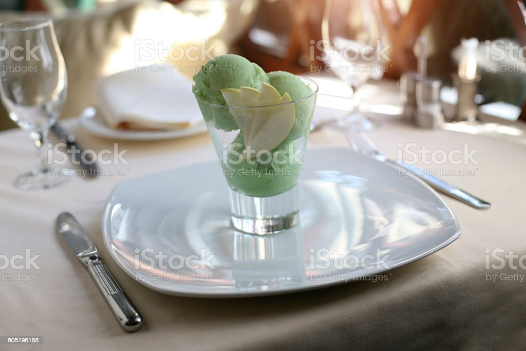 Green ice cream stock photo