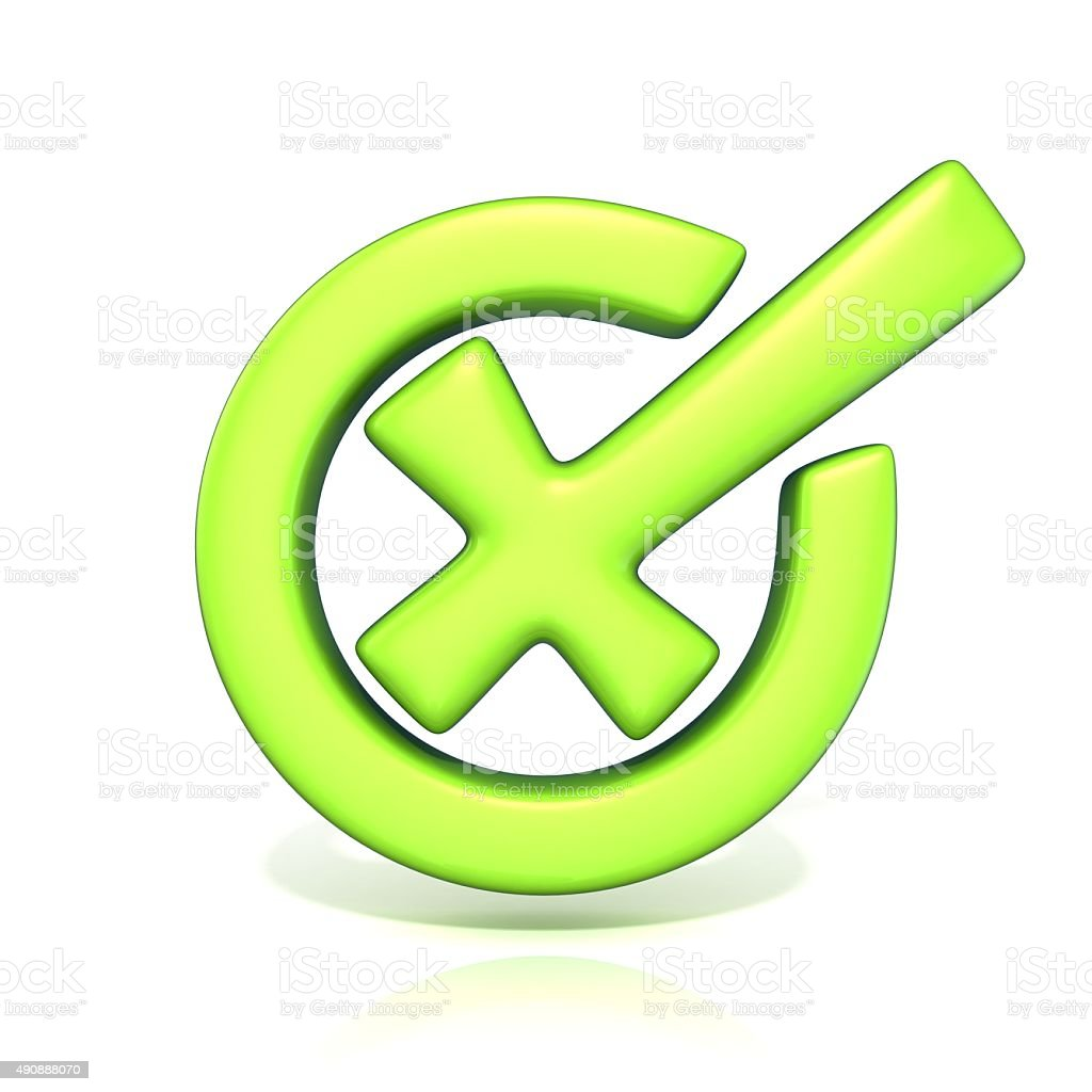 Green incorrect check mark in circle. 3D render stock photo