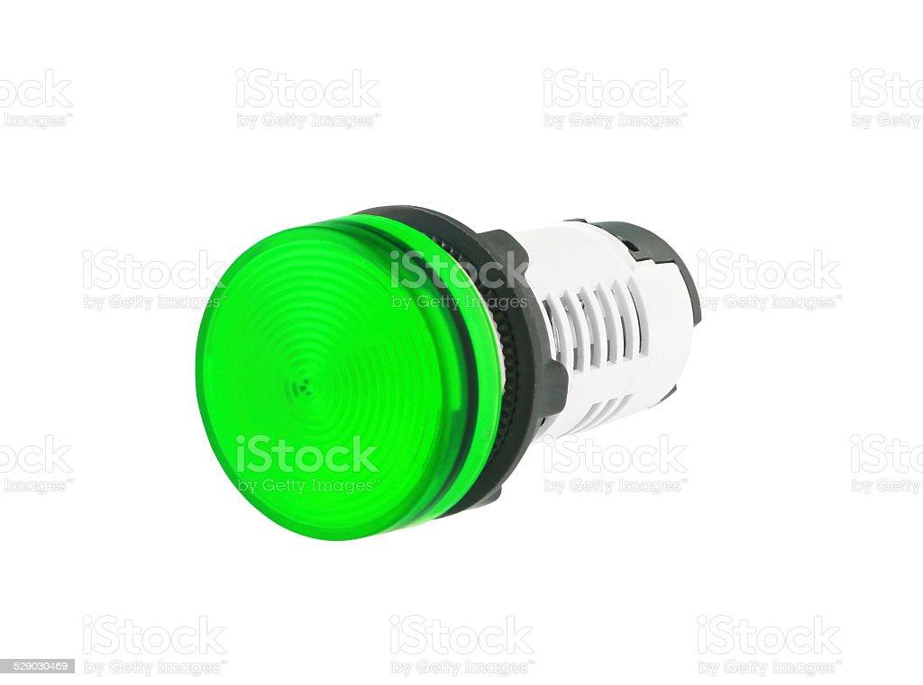 Green Indicating Lamp isolated on white background stock photo