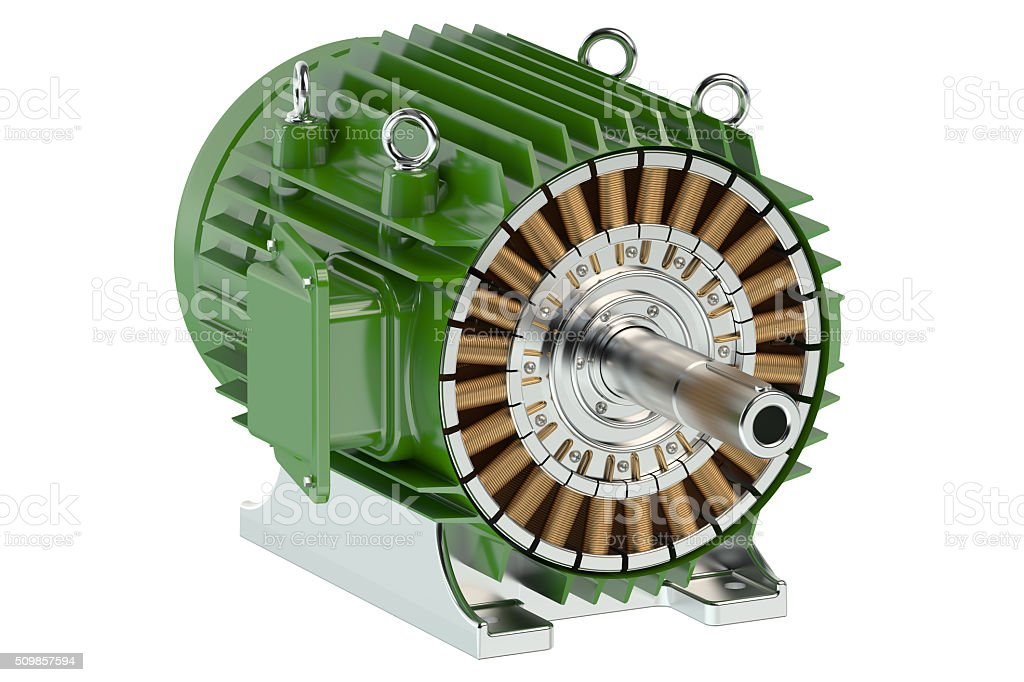 Green industrial electric motor stock photo