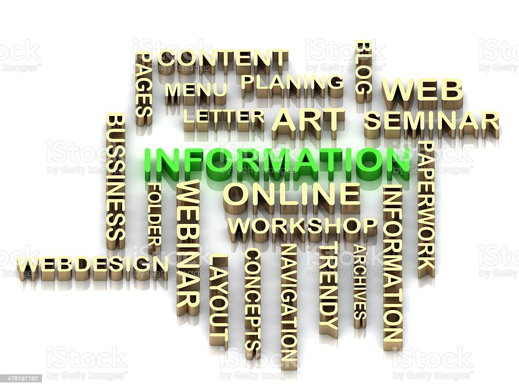 Green Information And Other Word From Golden Letters stock photo ...