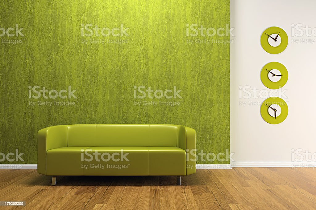 Green interior with sofa royalty-free stock photo