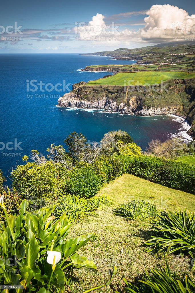 Green island in the Atlantic Ocean, Sao Miguel, Azores, Portugal stock photo