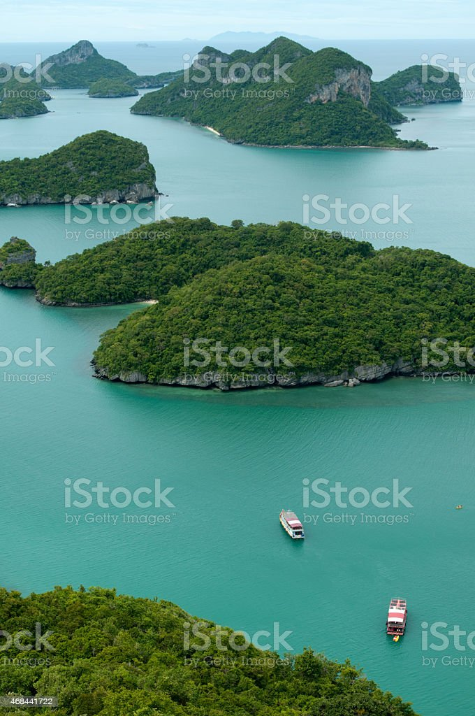 Green islands stock photo