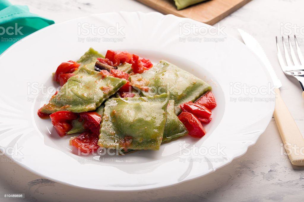 Green Italian ravioli stock photo