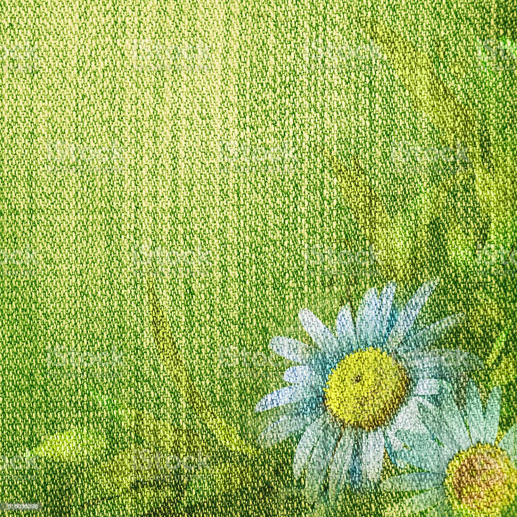 Green jeans background with daisies stock photo