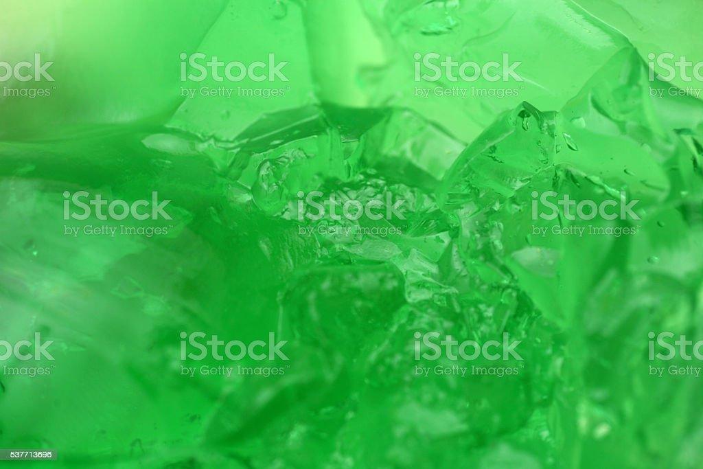 Green jelly pudding, fullframe macro stock photo