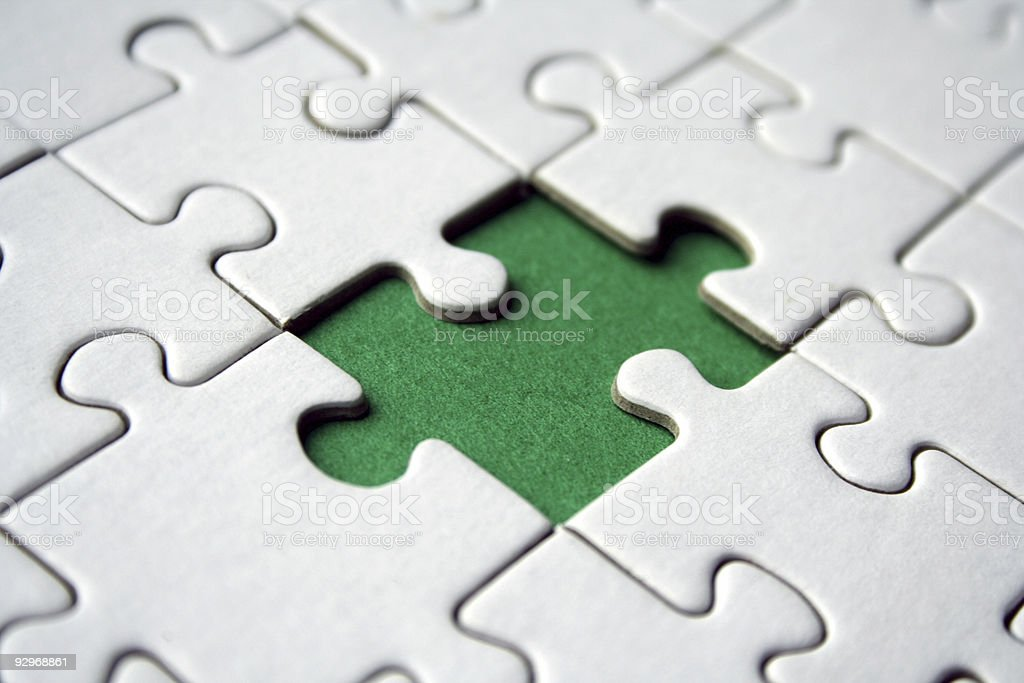 Green jigsaw element royalty-free stock photo