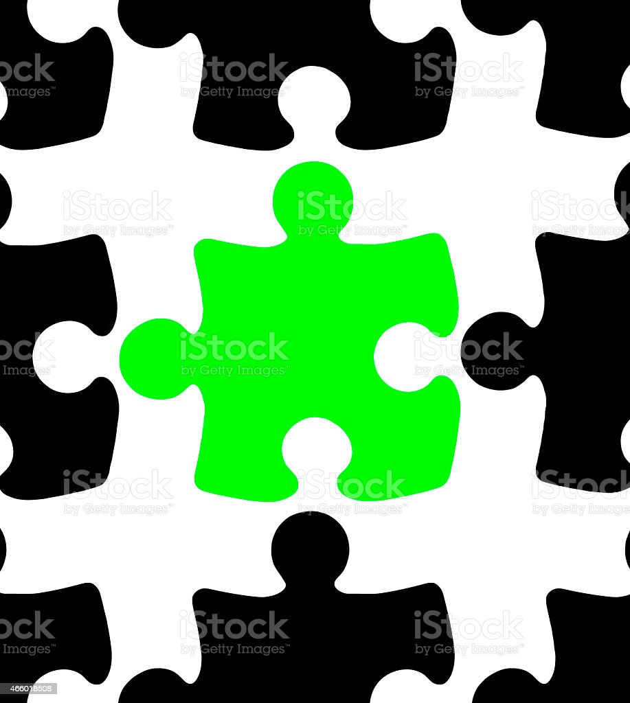 Green Jigsaw Puzzle Piece stock photo