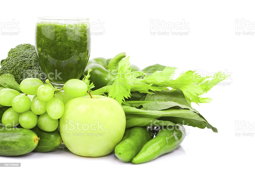 Green juice and Vegetable variety isolated on white background royalty-free stock photo