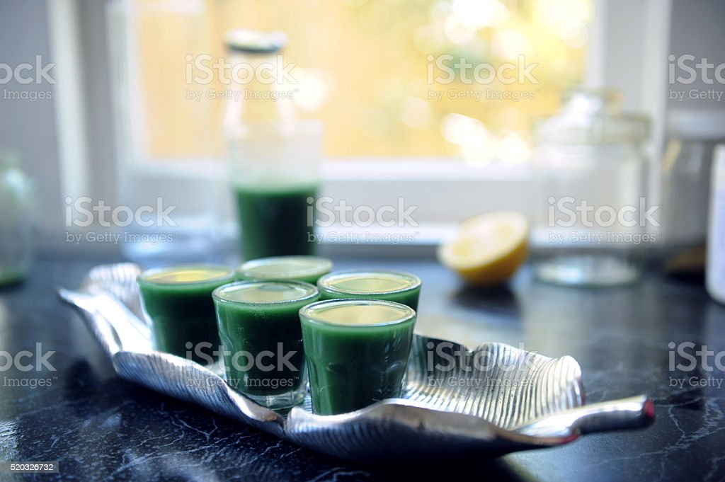 Green Juice Shots stock photo