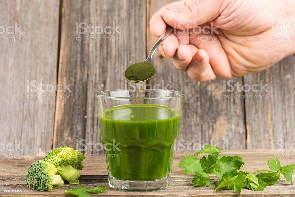Green juice  with chlorella stock photo