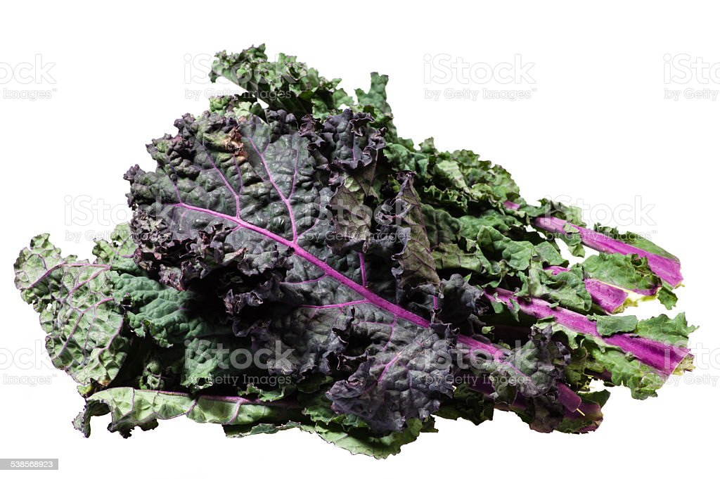 Green kale leaves isolated on white stock photo