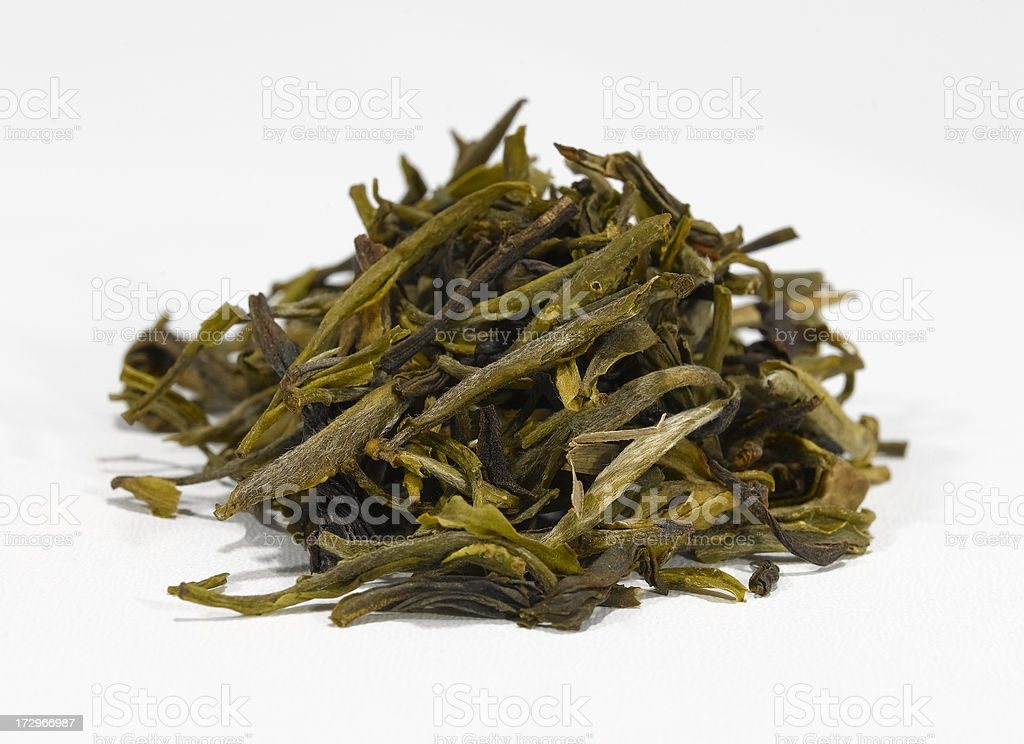green keemun mao feng tea leaves royalty-free stock photo