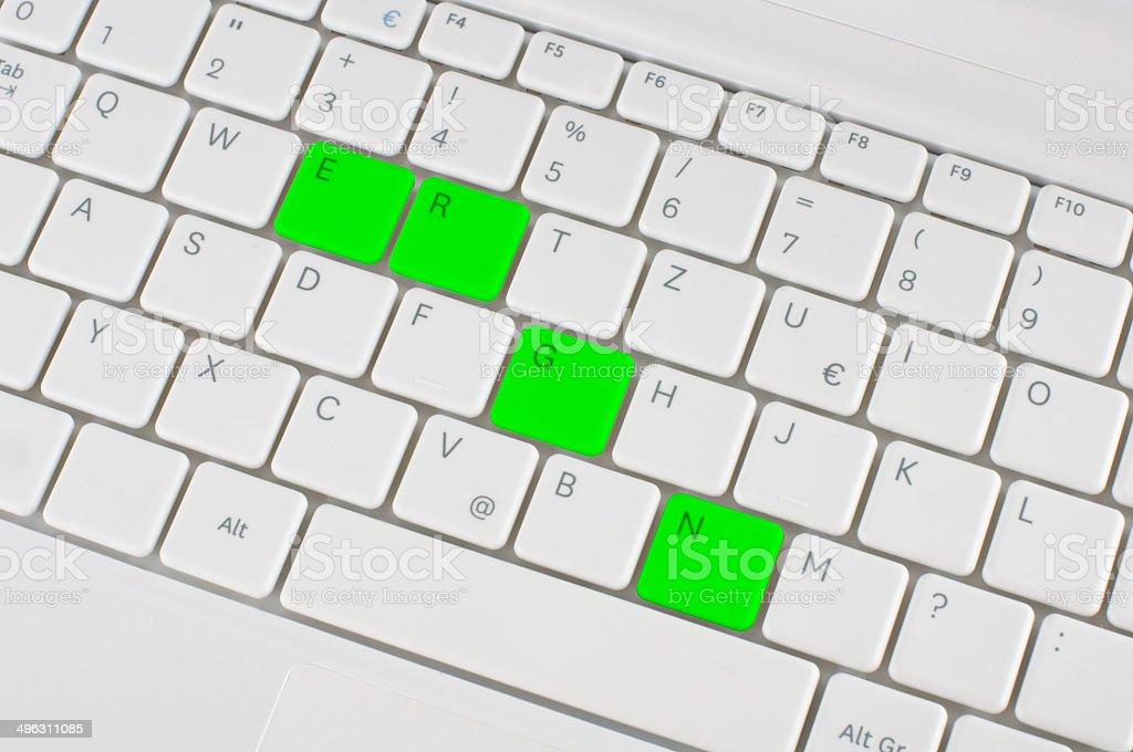 Green keyboard royalty-free stock photo