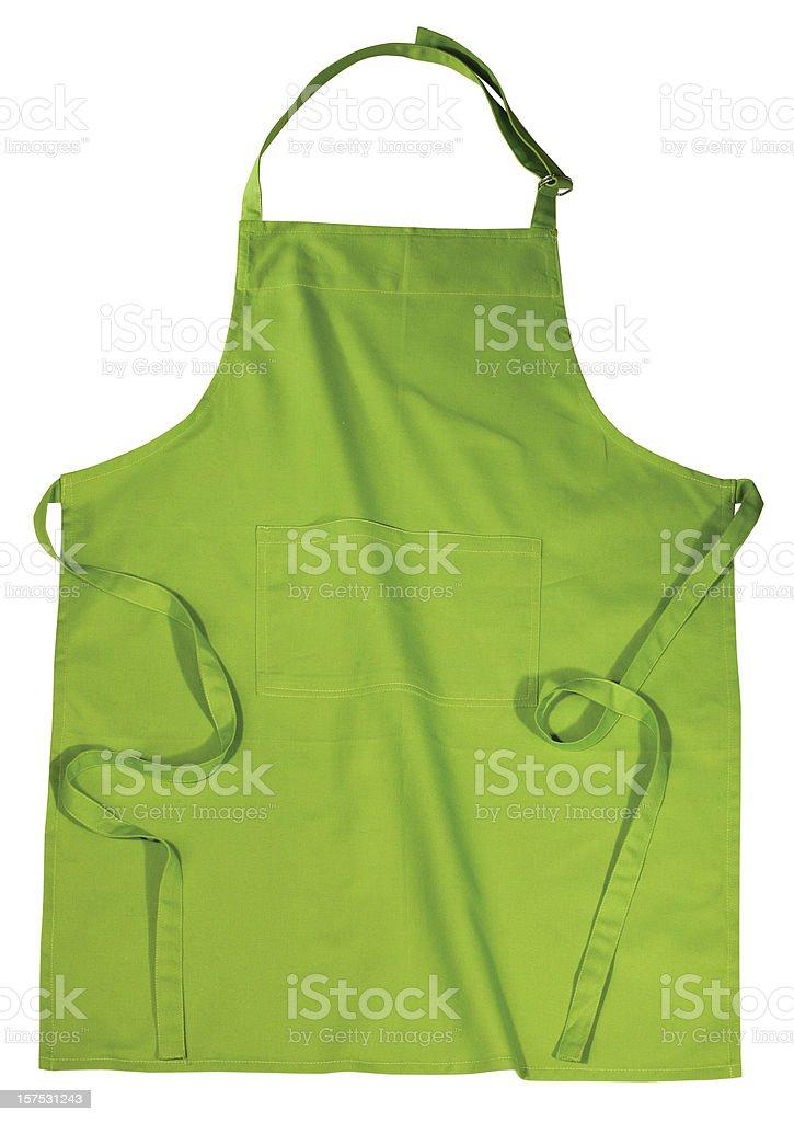 Green kitchen apron isolated on white background stock photo