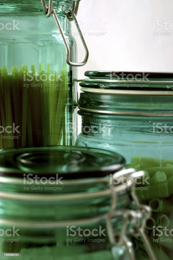 3 green kitchen jars royalty-free stock photo