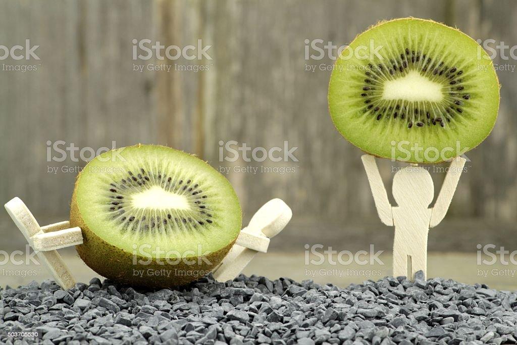 Green kiwi fruit stock photo