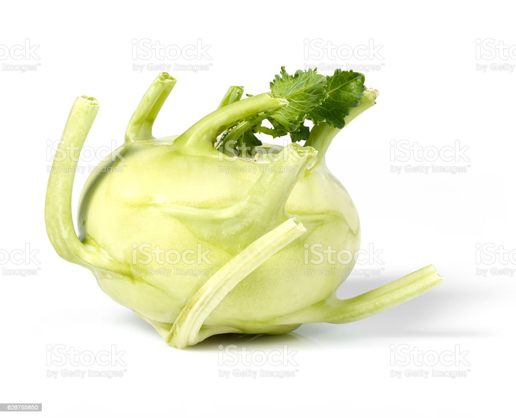 Green kohlrabi with leaves stock photo