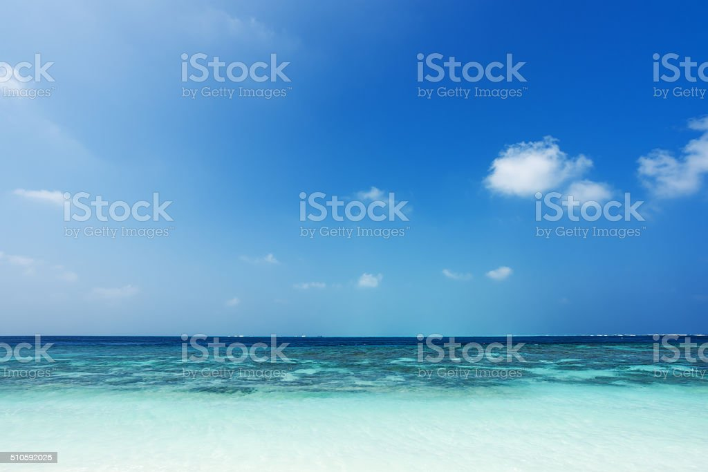Green lagoon and blue sky background stock photo