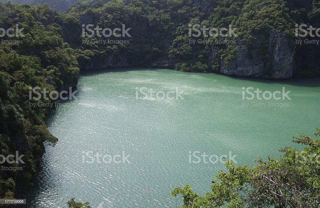 Green lagoon, Ang Thong marine park, Thailand royalty-free stock photo