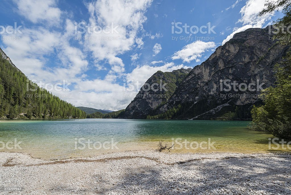 Green Lake of Braies in Sudtirol royalty-free stock photo